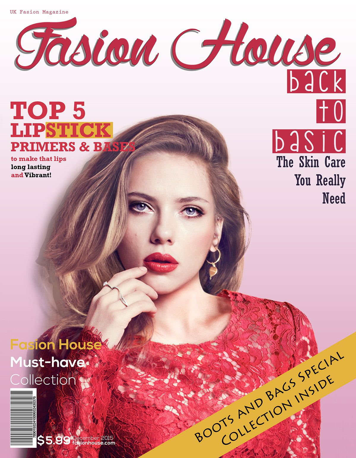 002 Outstanding Photoshop Fashion Magazine Cover Template Free Design Full