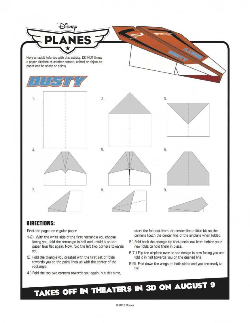 002 Outstanding Printable Paper Airplane Instruction Example  Simple Free Folding868