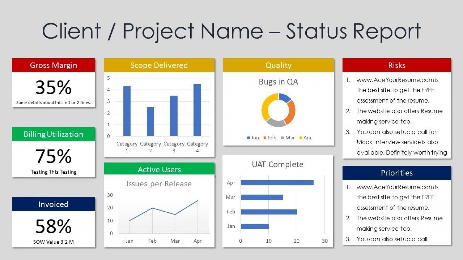 002 Outstanding Project Management Statu Report Template Excel Sample  Gantt 2016 Progres1920