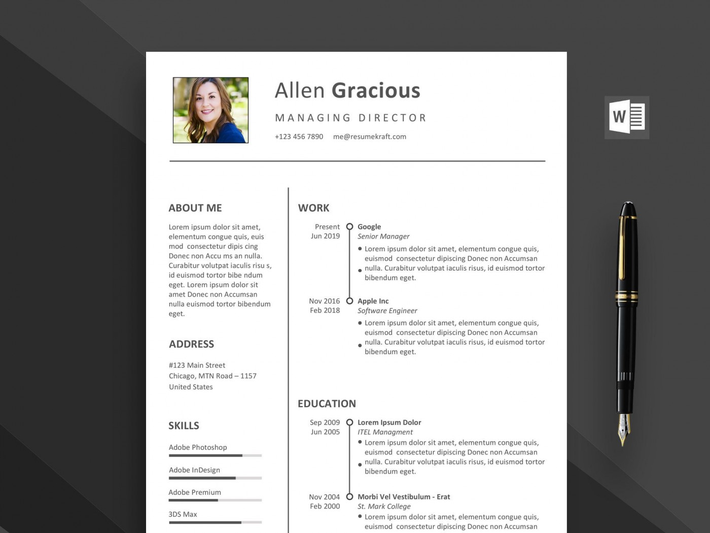 002 Outstanding Word Resume Template Free Download Highest Quality  M Creative Curriculum Vitae Cv1400