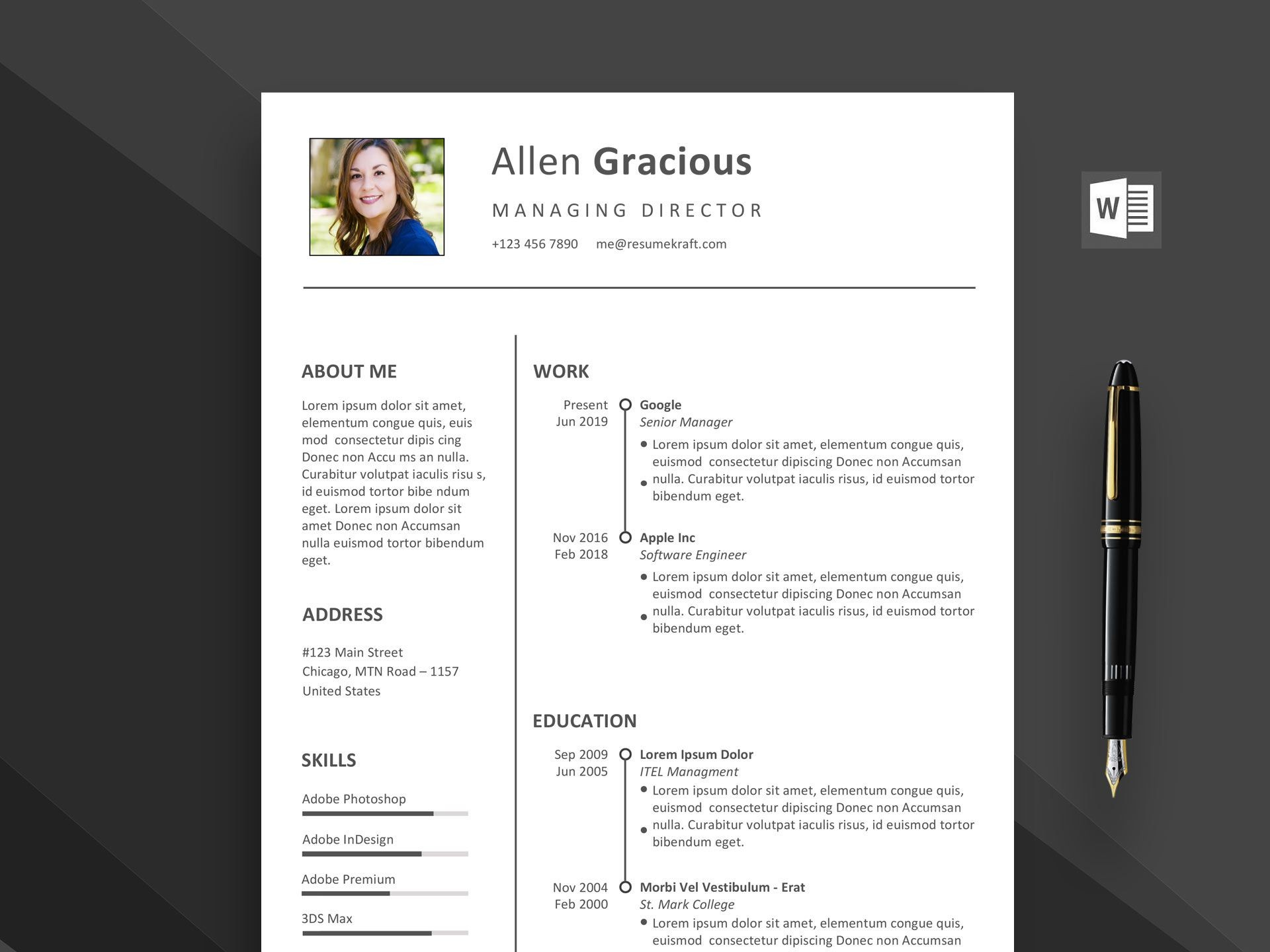002 Outstanding Word Resume Template Free Download Highest Quality  M Creative Curriculum Vitae Cv1920