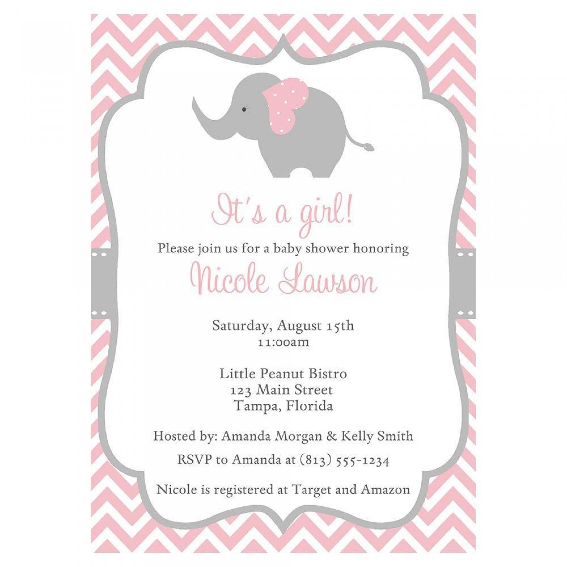 002 Phenomenal Baby Shower Invitation Girl Elephant Idea  Free Pink Template1920