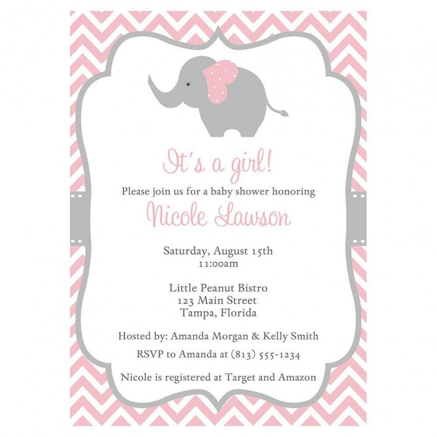 002 Phenomenal Baby Shower Invitation Girl Elephant Idea  Pink Free Printable For Template