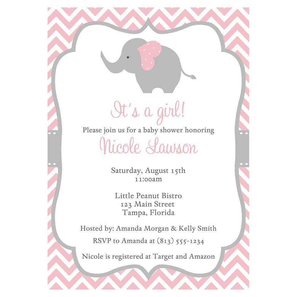 002 Phenomenal Baby Shower Invitation Girl Elephant Idea  Free Pink TemplateFull