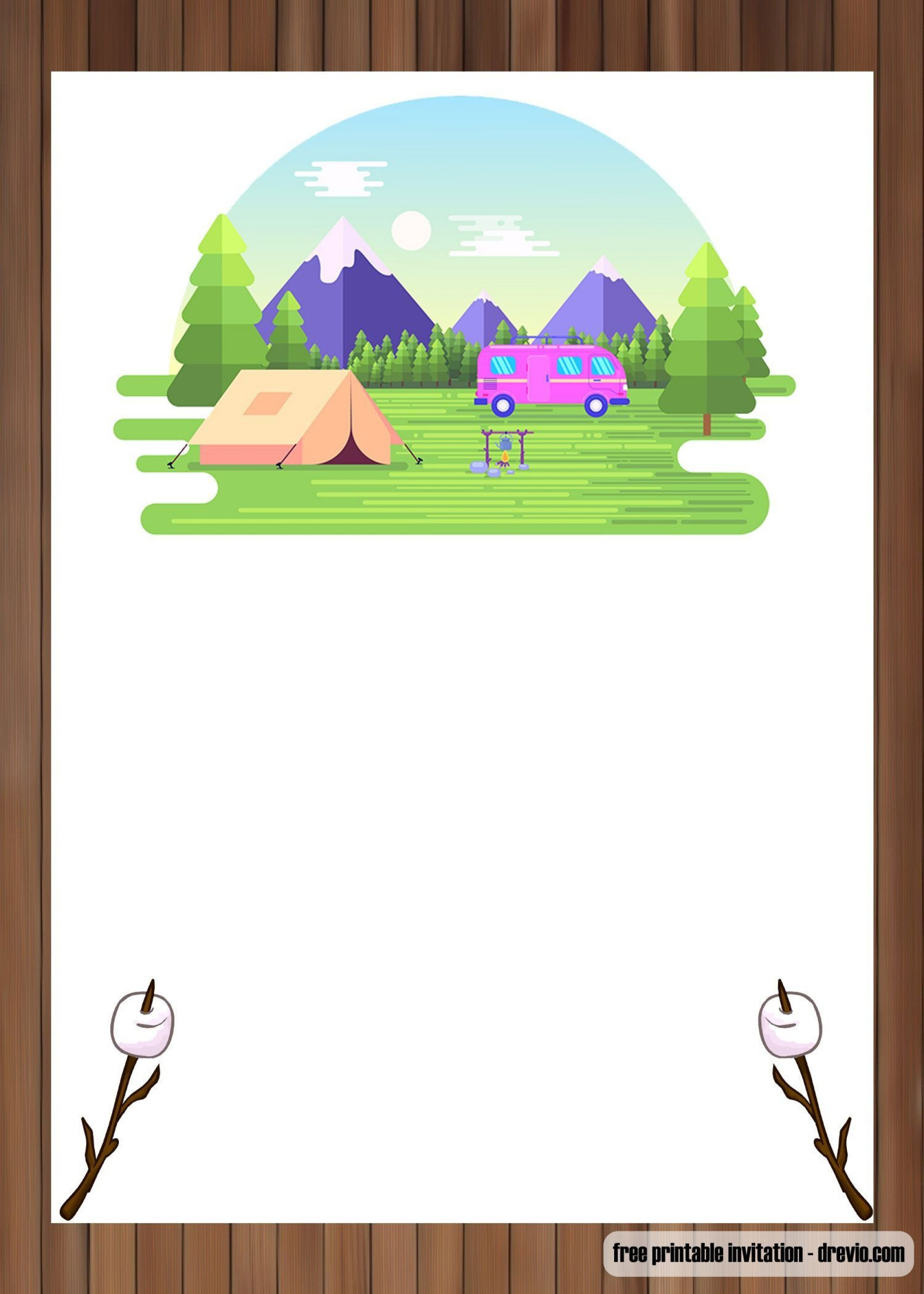 002 Phenomenal Camping Invitation Template Free Concept  Party Birthday1920