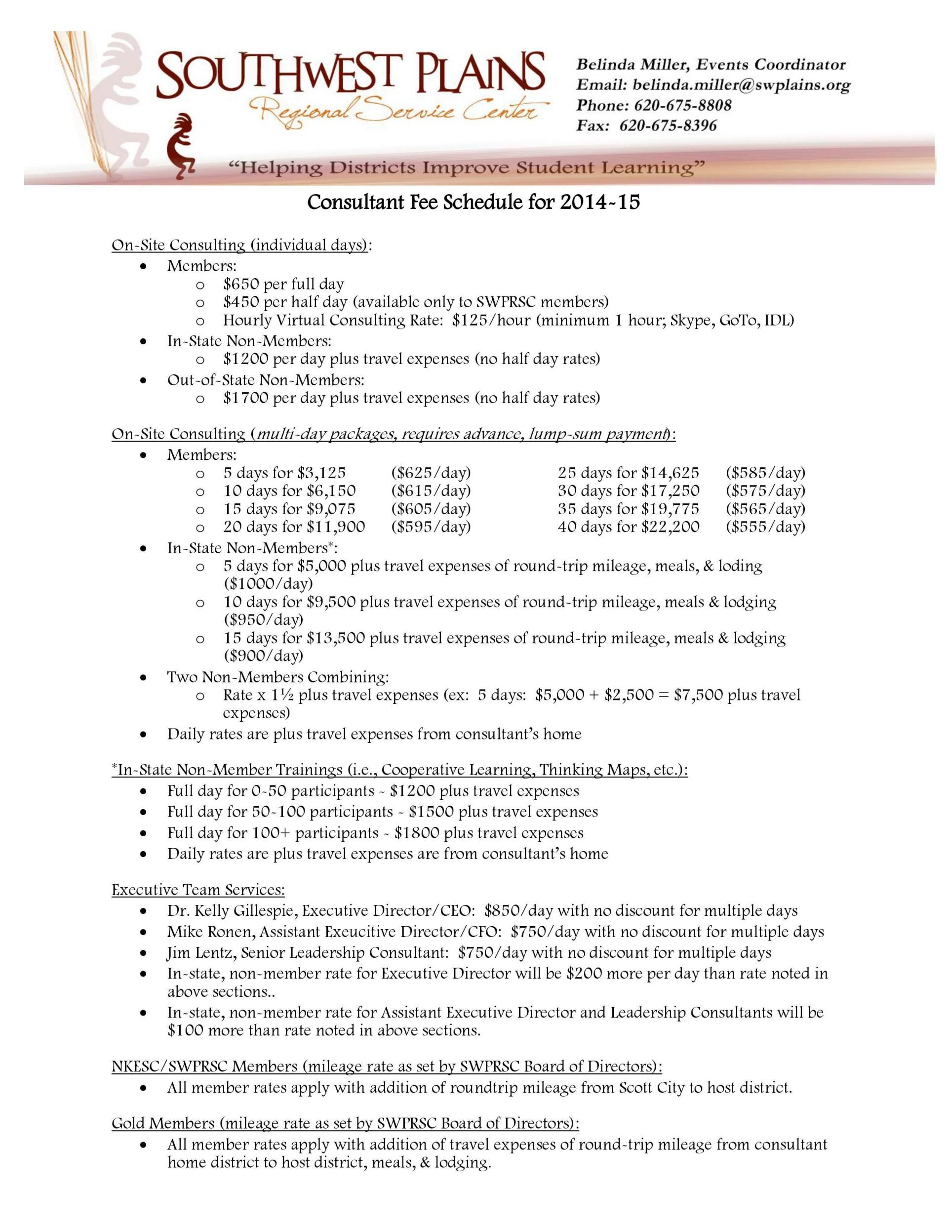 002 Phenomenal Consultant Fee Schedule Template Design 1920