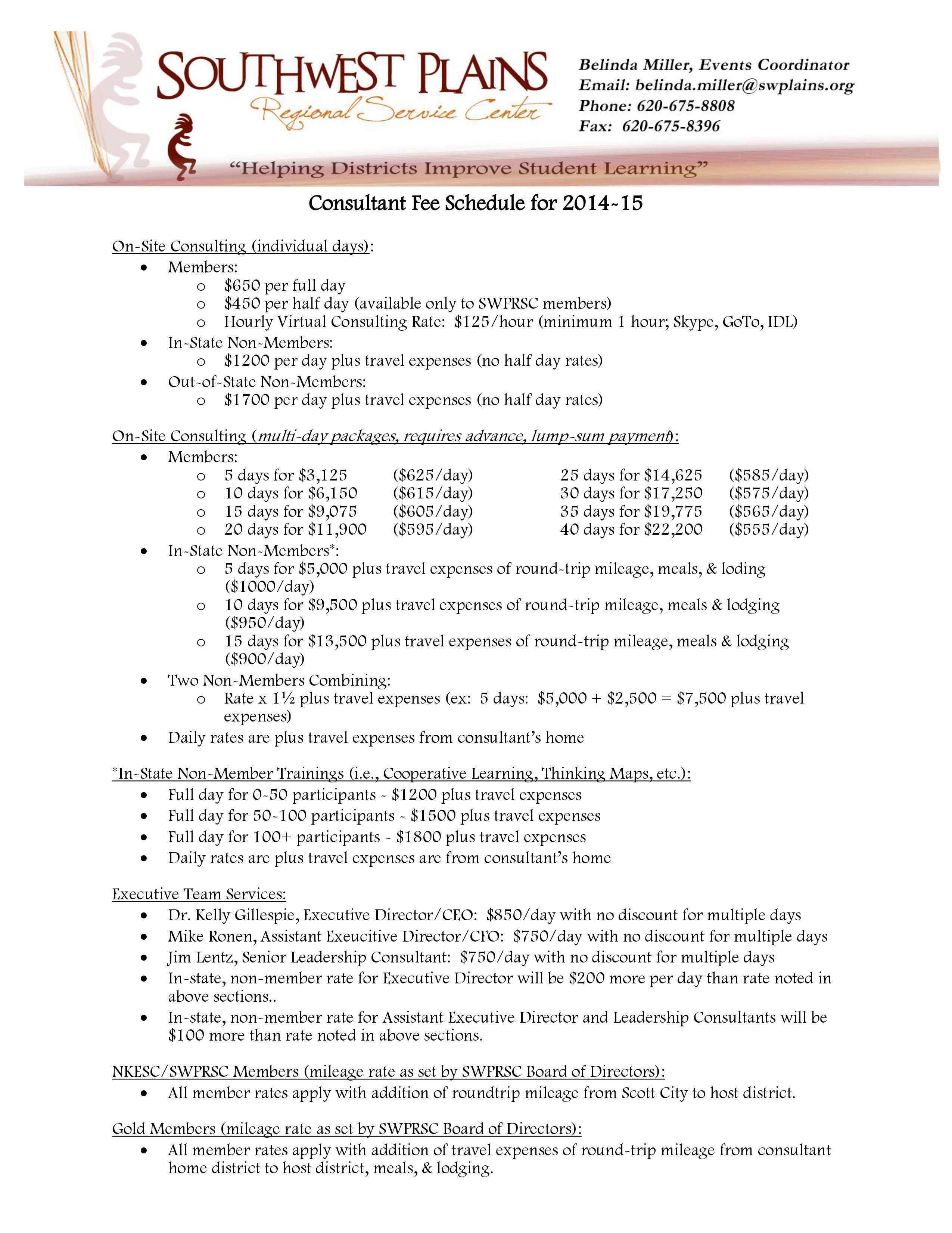 002 Phenomenal Consultant Fee Schedule Template Design Full