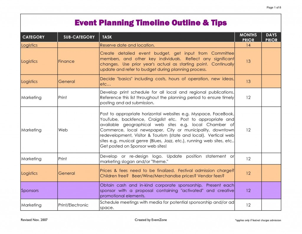 002 Phenomenal Event Planning Timeline Template Highest Quality  Free ExcelLarge