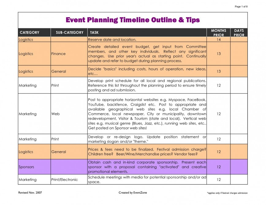 002 Phenomenal Event Planning Timeline Template Highest Quality  Free Excel