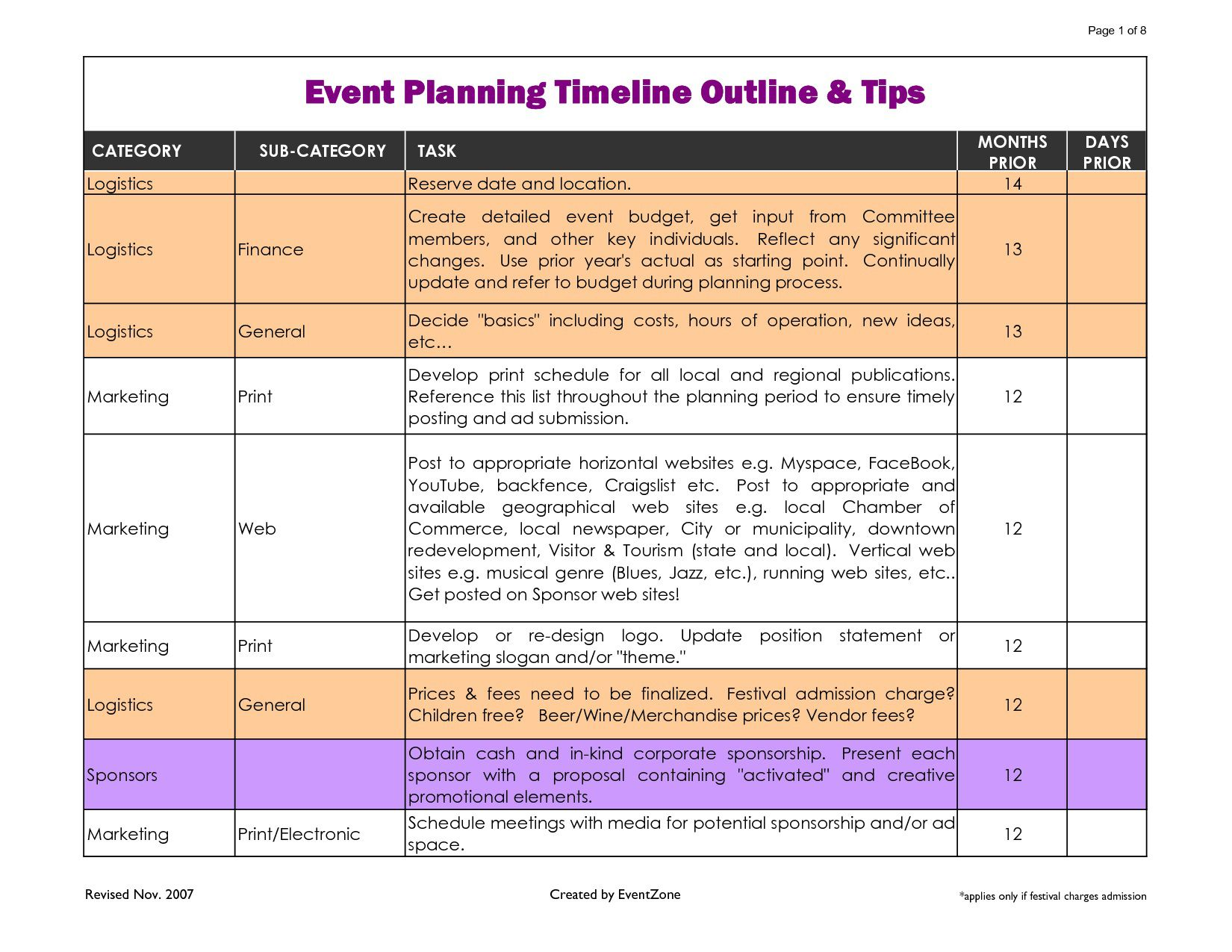 002 Phenomenal Event Planning Timeline Template Highest Quality  Free ExcelFull