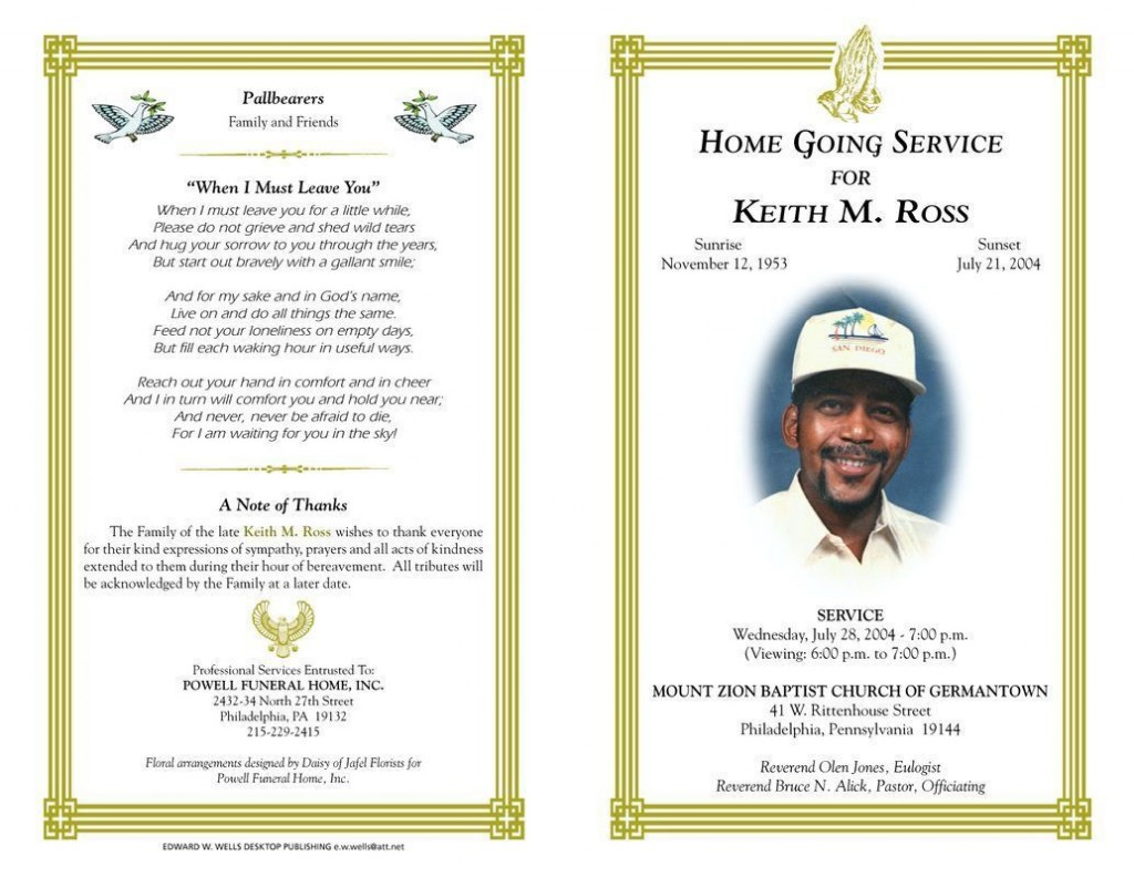 002 Phenomenal Free Funeral Program Template Download Sample  Simple Editable Microsoft WordLarge