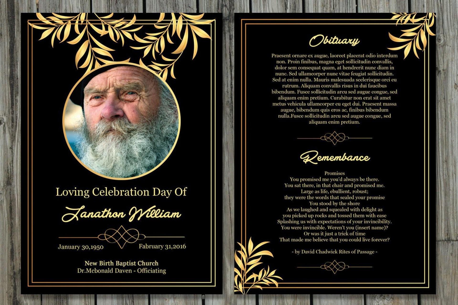 002 Phenomenal Memorial Card Template Free Download Sample 1920