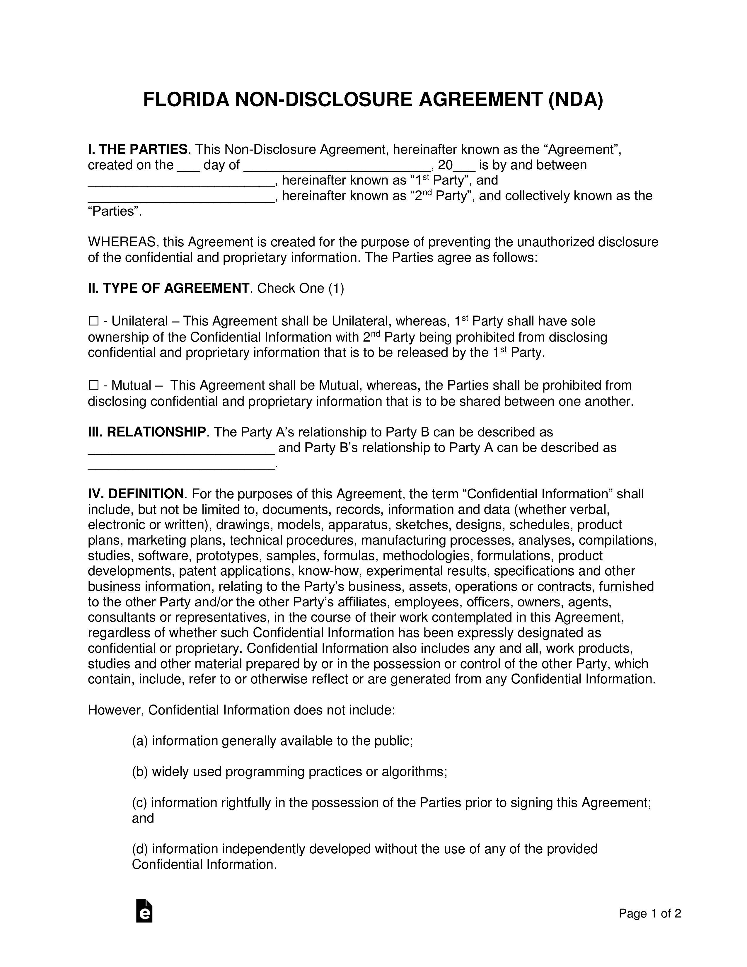 002 Phenomenal Non Compete Agreement Florida Template Inspiration Full