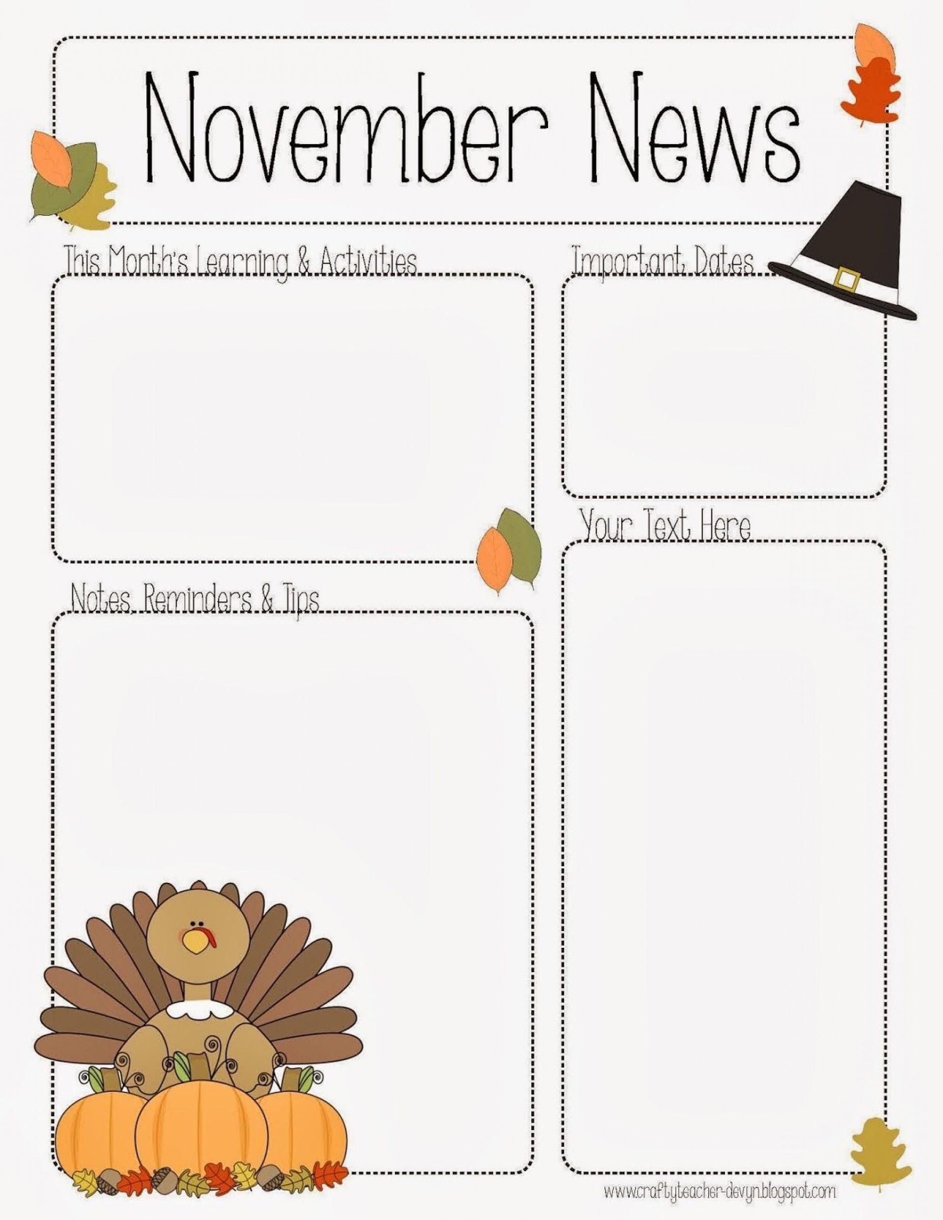 002 Phenomenal Pre K Newsletter Template Example  Templates Free Printable Classroom1920