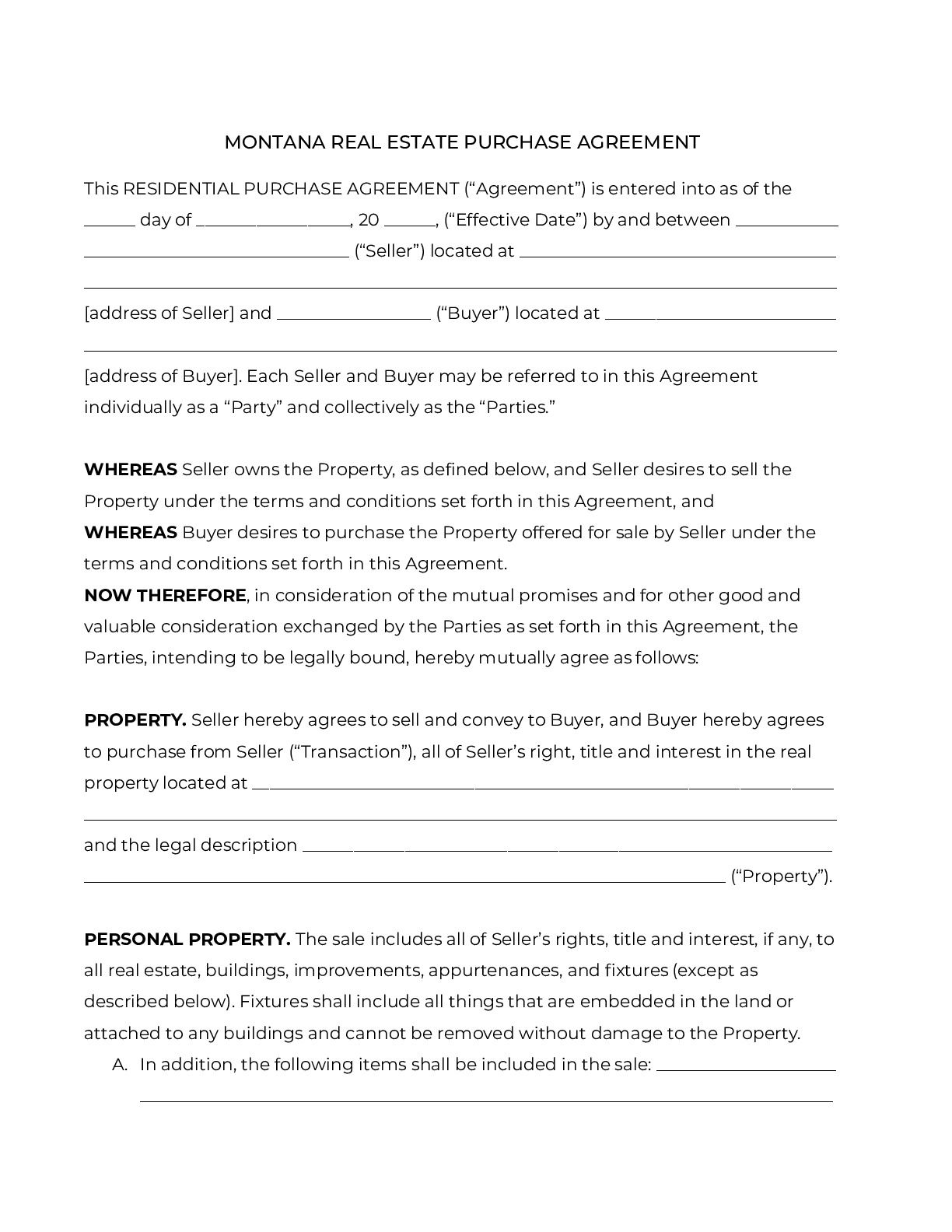 002 Phenomenal Real Estate Buy Sell Agreement Template Montana High Definition  Form FreeFull