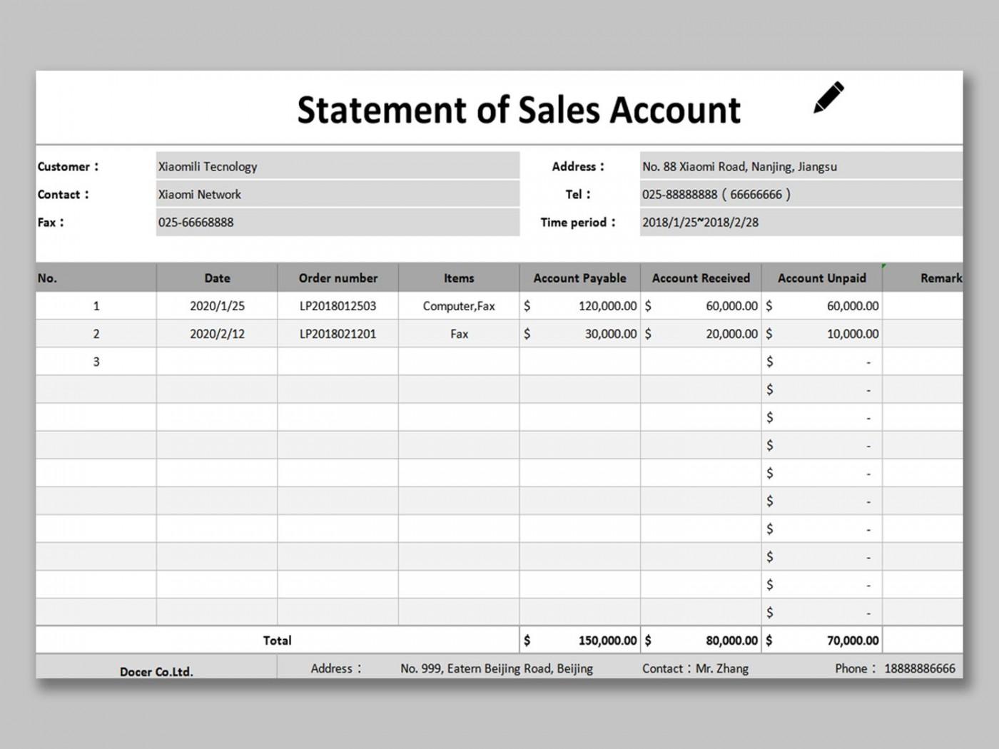 002 Phenomenal Statement Of Account Template Image  Uk Free Doc Customer1400