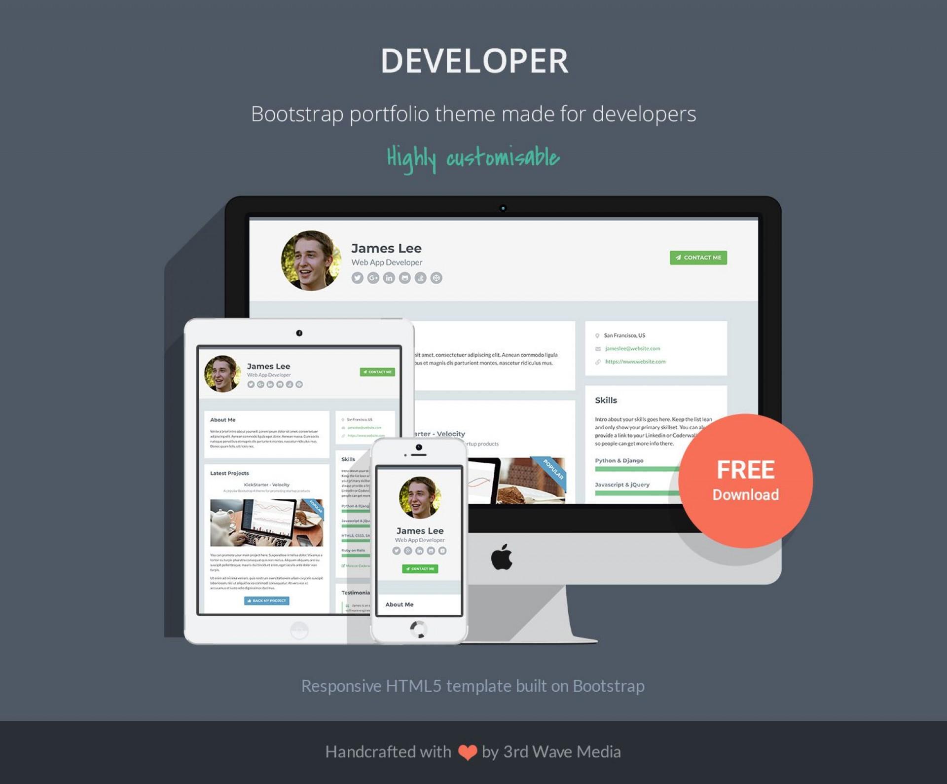 002 Phenomenal Web Developer Portfolio Template Picture  Templates Best Design Theme Free Wordpres1920