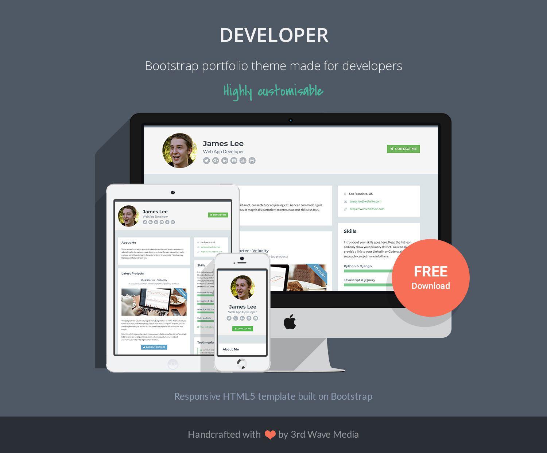 002 Phenomenal Web Developer Portfolio Template Picture  Templates Best Design Theme Free WordpresFull