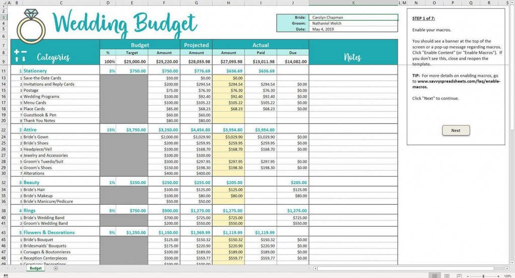 002 Phenomenal Wedding Budget Template Excel High Definition  South Africa Sample SpreadsheetLarge