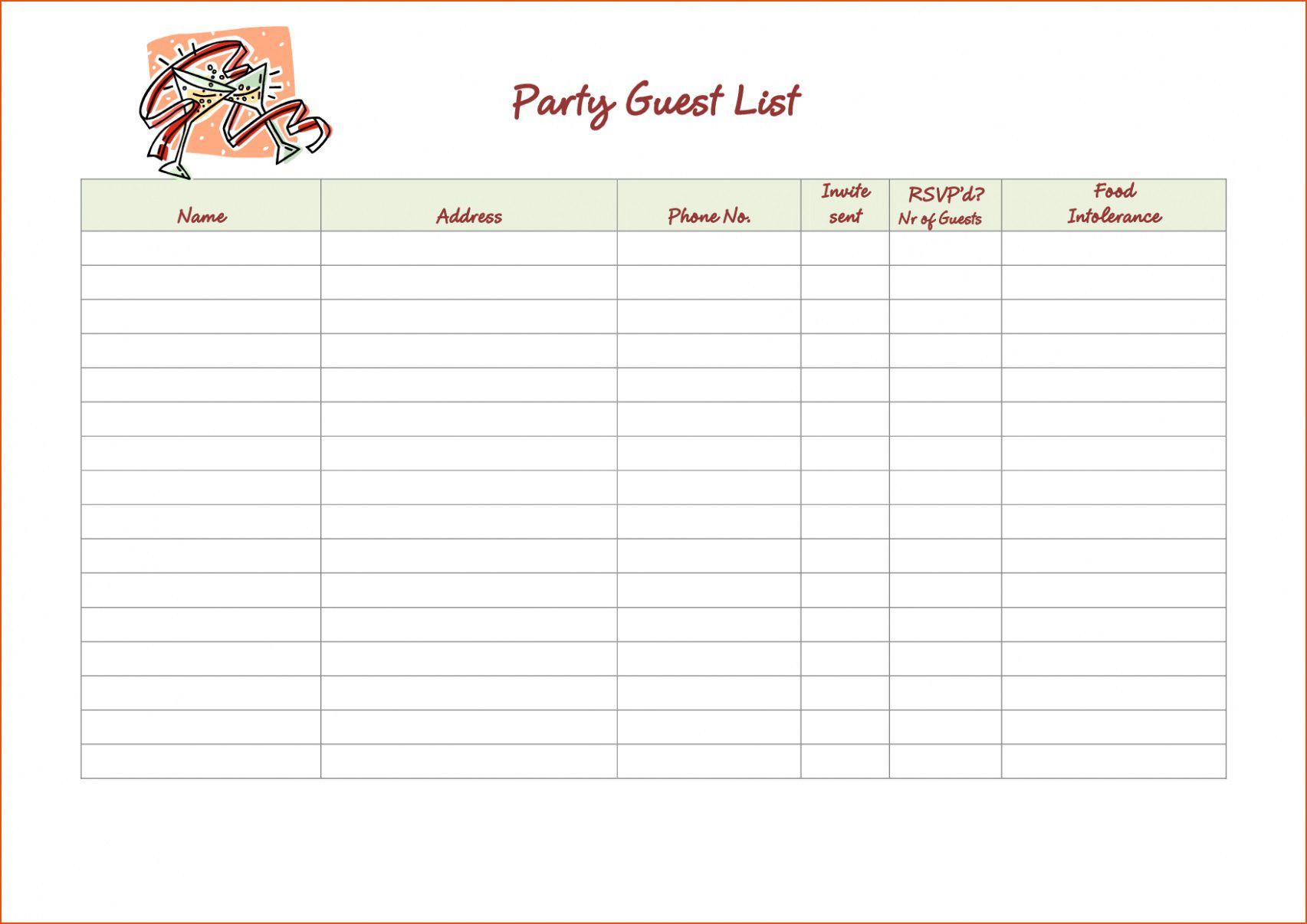 002 Phenomenal Wedding Party List Template Design  Printable MemberFull