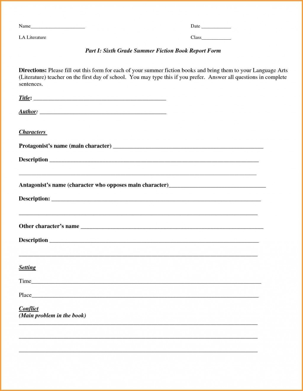 002 Rare 6th Grade Book Report Format Sample  Sixth Example Printable Middle School TemplateLarge