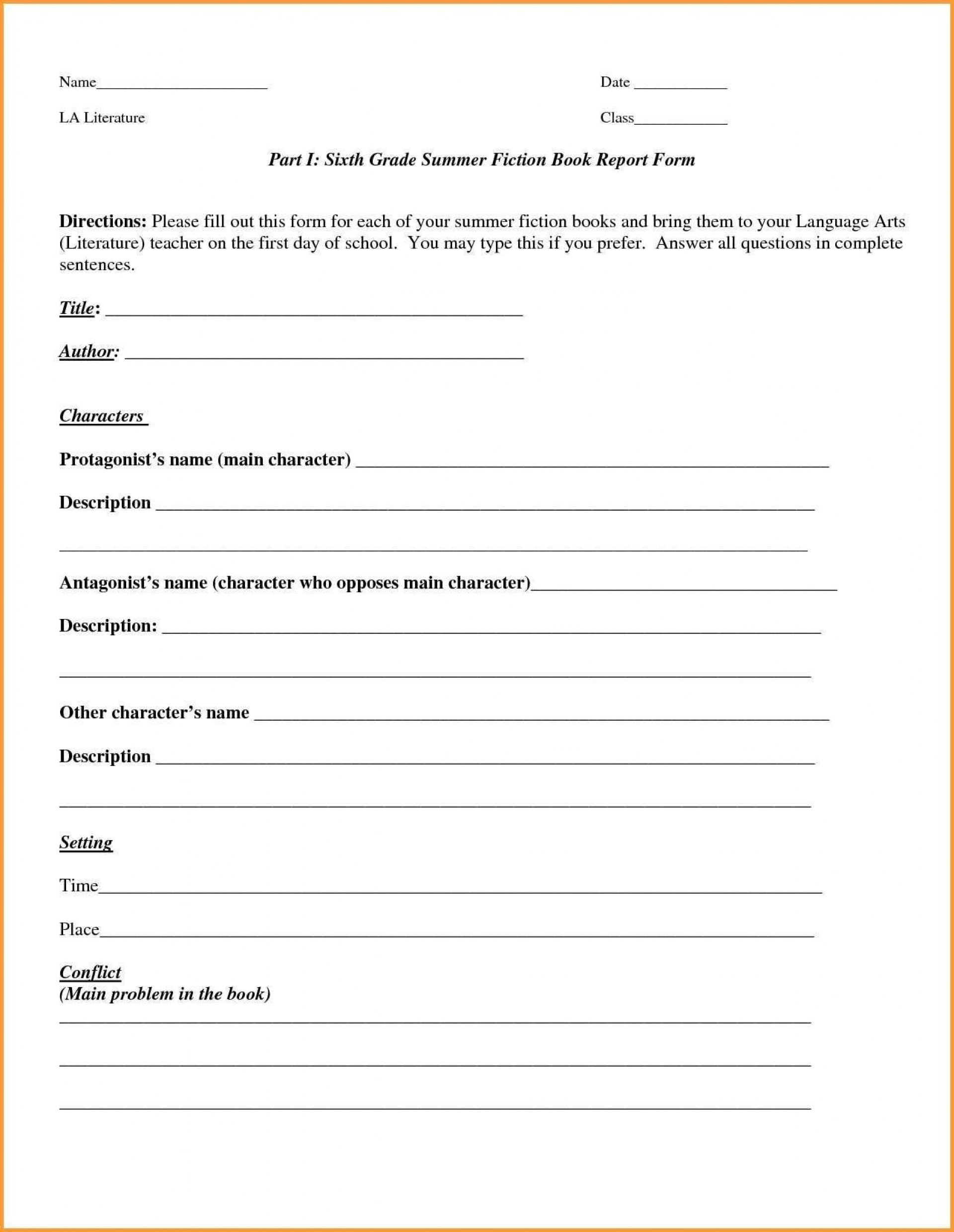 002 Rare 6th Grade Book Report Format Sample  Sixth Example Printable Middle School Template1920