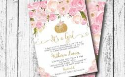002 Rare Baby Shower Invitation Girl Pumpkin Sample  Pink Little
