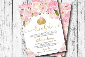 002 Rare Baby Shower Invitation Girl Pumpkin Sample  Pink Little