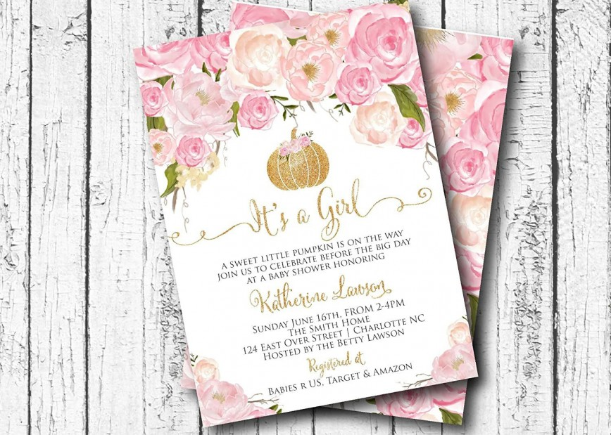 002 Rare Baby Shower Invitation Girl Pumpkin Sample  Pink Little868