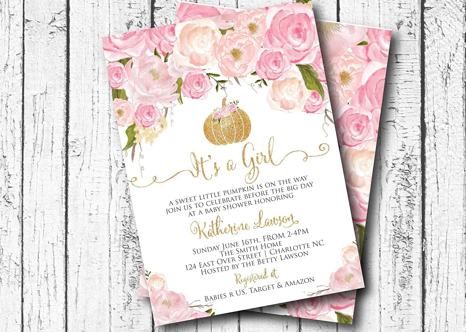 002 Rare Baby Shower Invitation Girl Pumpkin Sample  Pink LittleFull