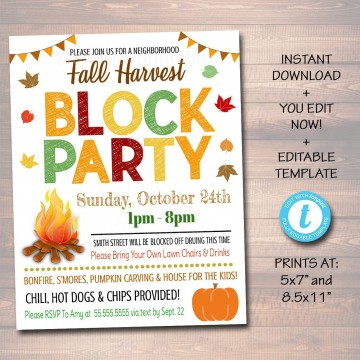 002 Rare Block Party Flyer Template Photo  Free360