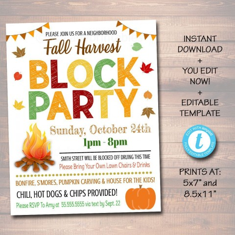 002 Rare Block Party Flyer Template Photo  Free480