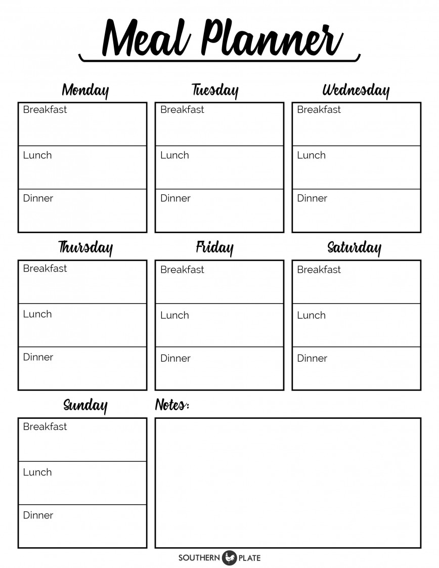 002 Rare Free Meal Planner Template Pdf Image  Weekly With Grocery List