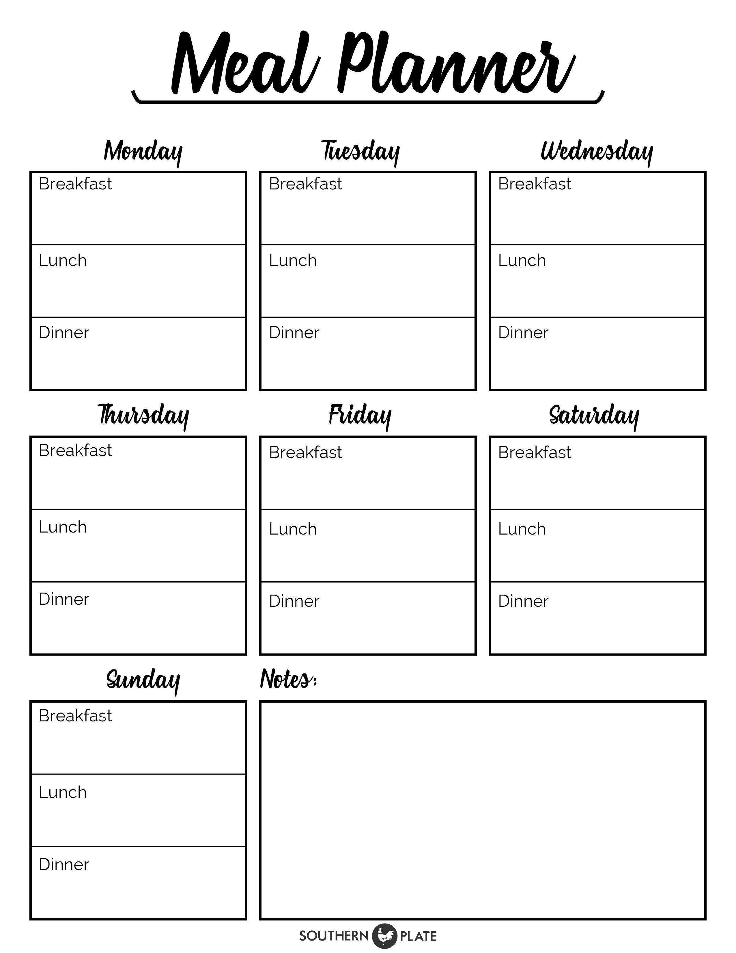 002 Rare Free Meal Planner Template Pdf Image  Weekly With Grocery List MonthlyFull