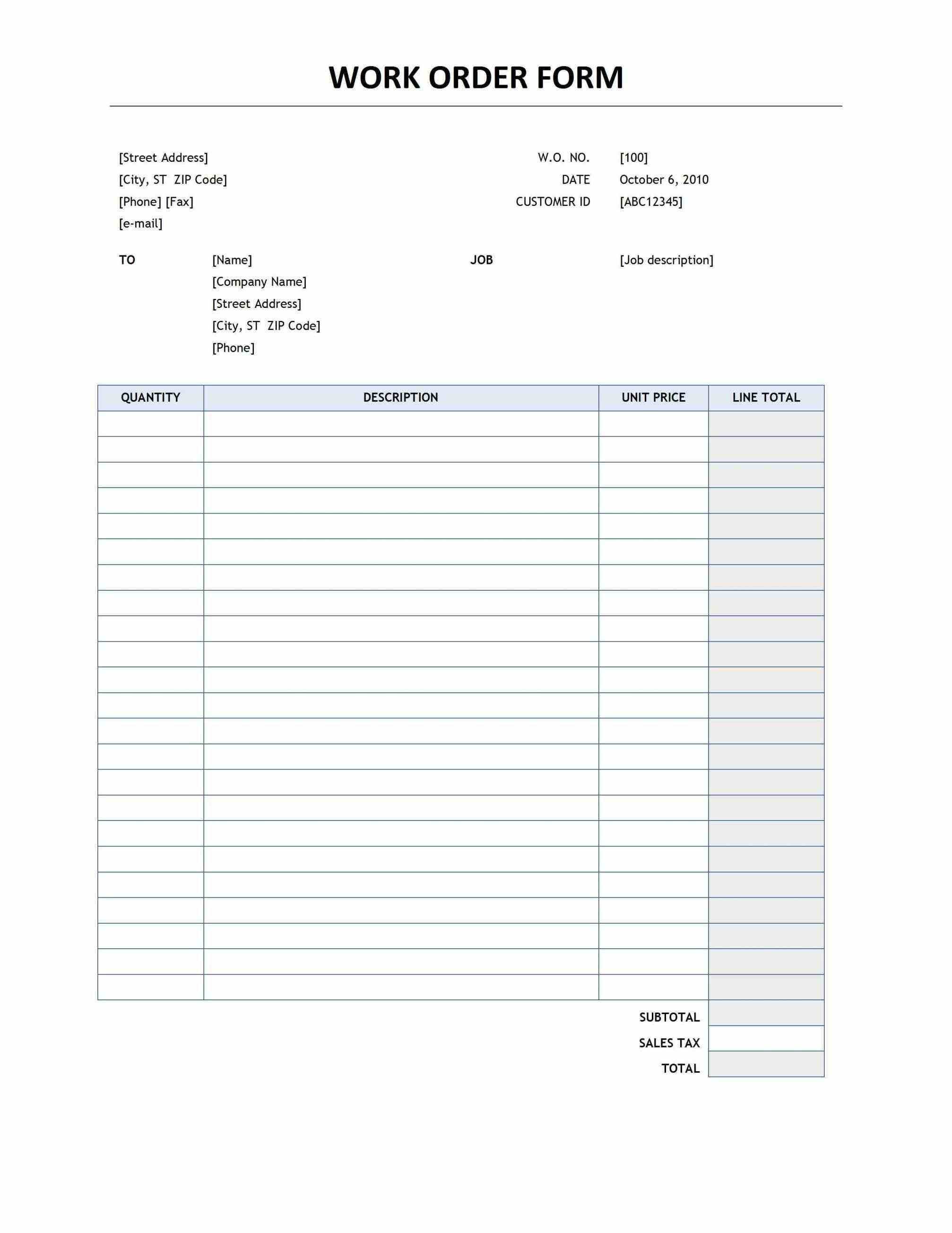 002 Rare Free Order Form Template Highest Clarity  Sale Excel PdfFull