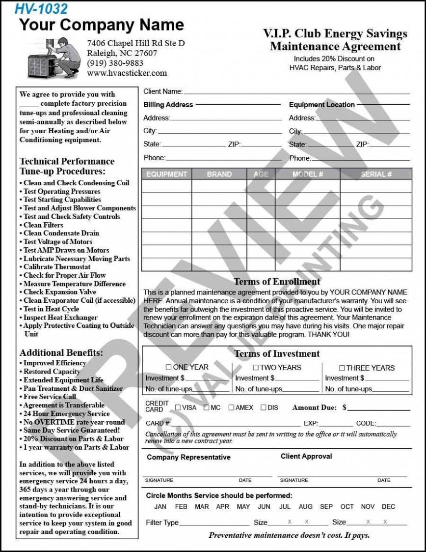 002 Rare Hvac Service Agreement Template Photo  Maintenance Contract Form Pdf