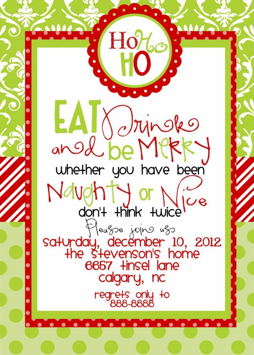 002 Rare Office Christma Party Invitation Wording Sample Photo  Holiday Example868