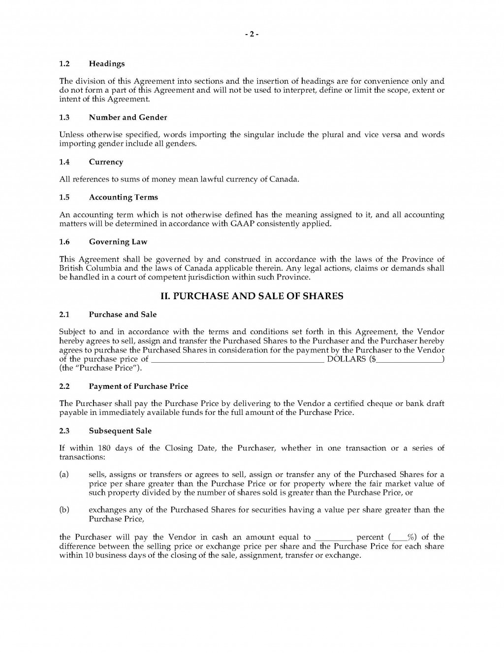 002 Rare Real Estate Purchase Agreement Template British Columbia Highest Clarity Large