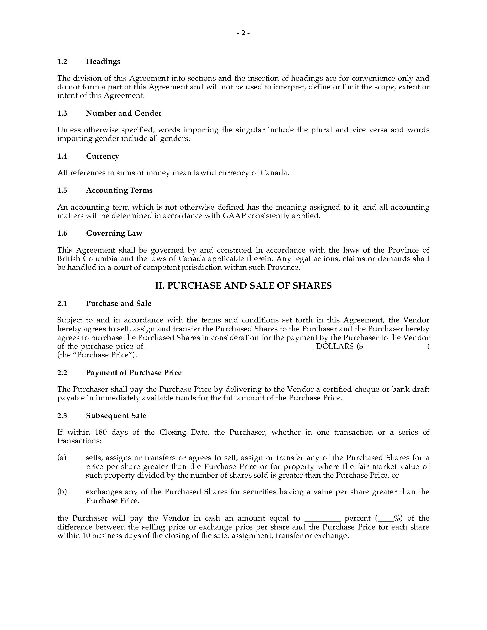 002 Rare Real Estate Purchase Agreement Template British Columbia Highest Clarity Full