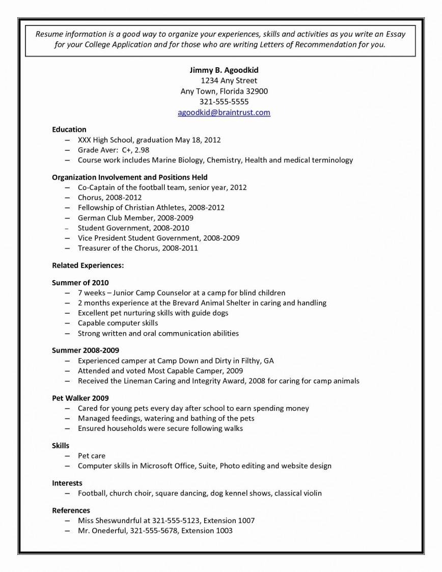 College Application Resume Template Free from www.addictionary.org