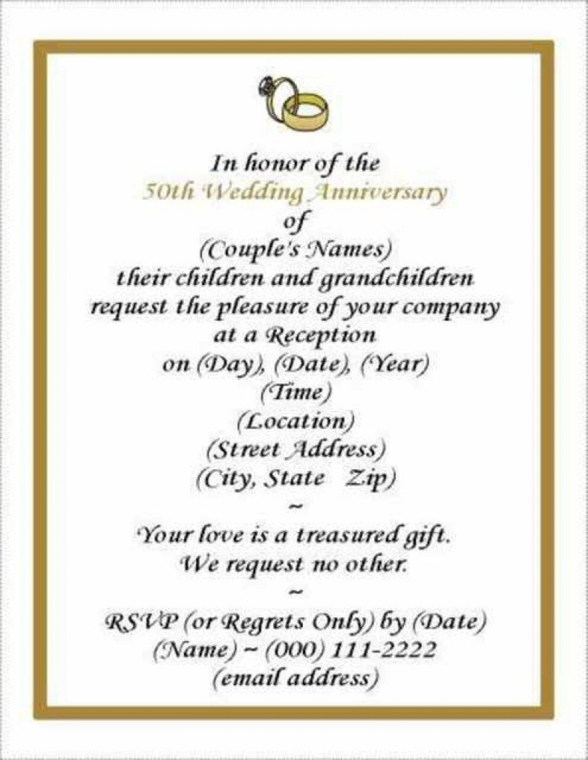 002 Remarkable 50th Wedding Anniversary Invitation Card Template Picture  Templates Sample1920