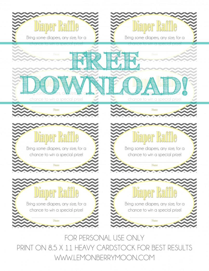 002 Remarkable Diaper Raffle Ticket Template Highest Quality  Free Printable Download Editable
