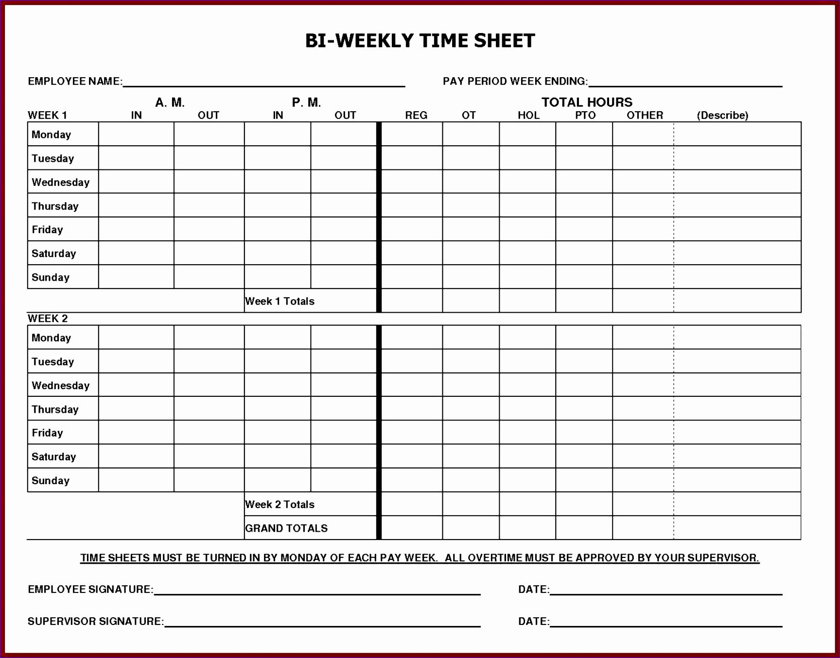 002 Remarkable Employee Monthly Time Card Template Highest Clarity Full