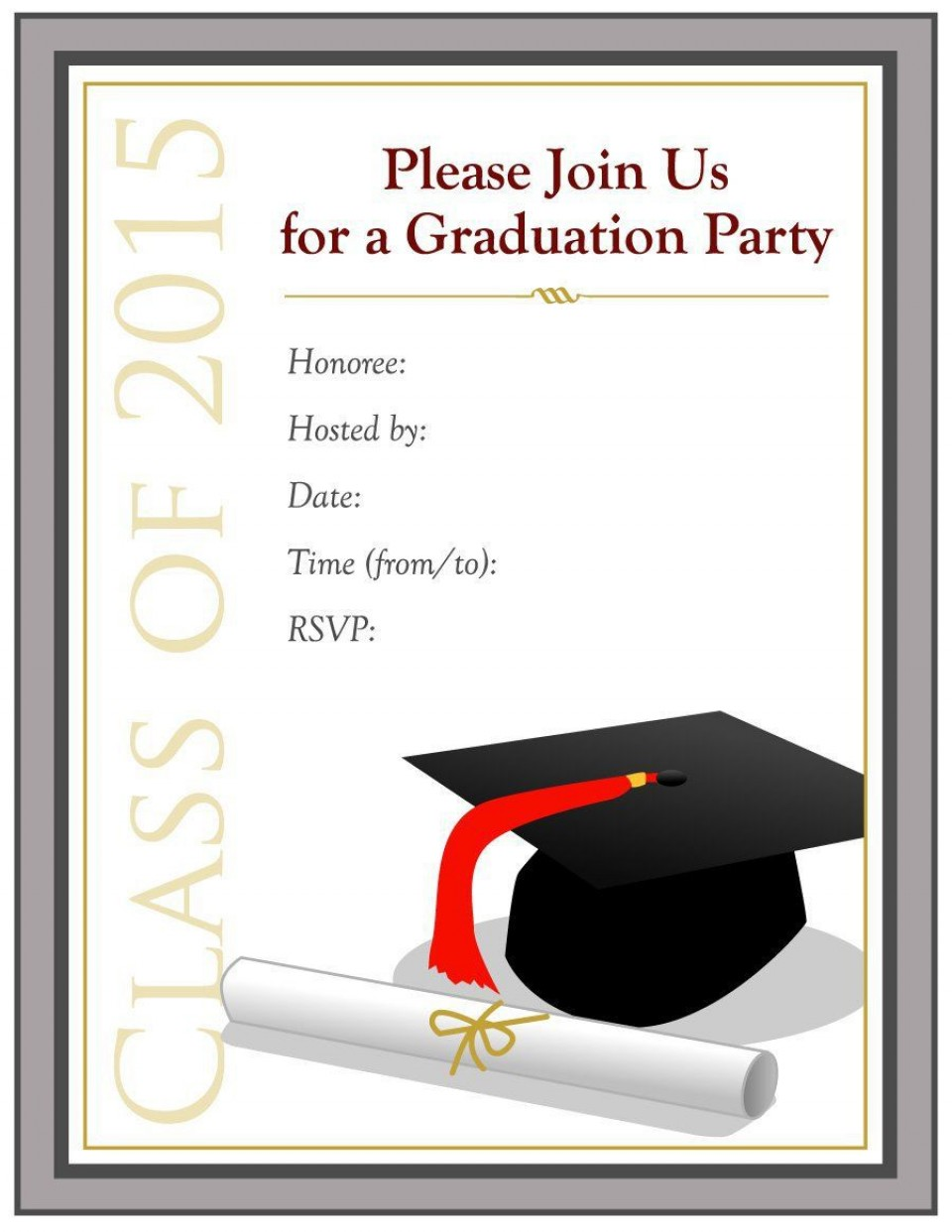 002 Remarkable Microsoft Word Graduation Party Invitation Template Design 960