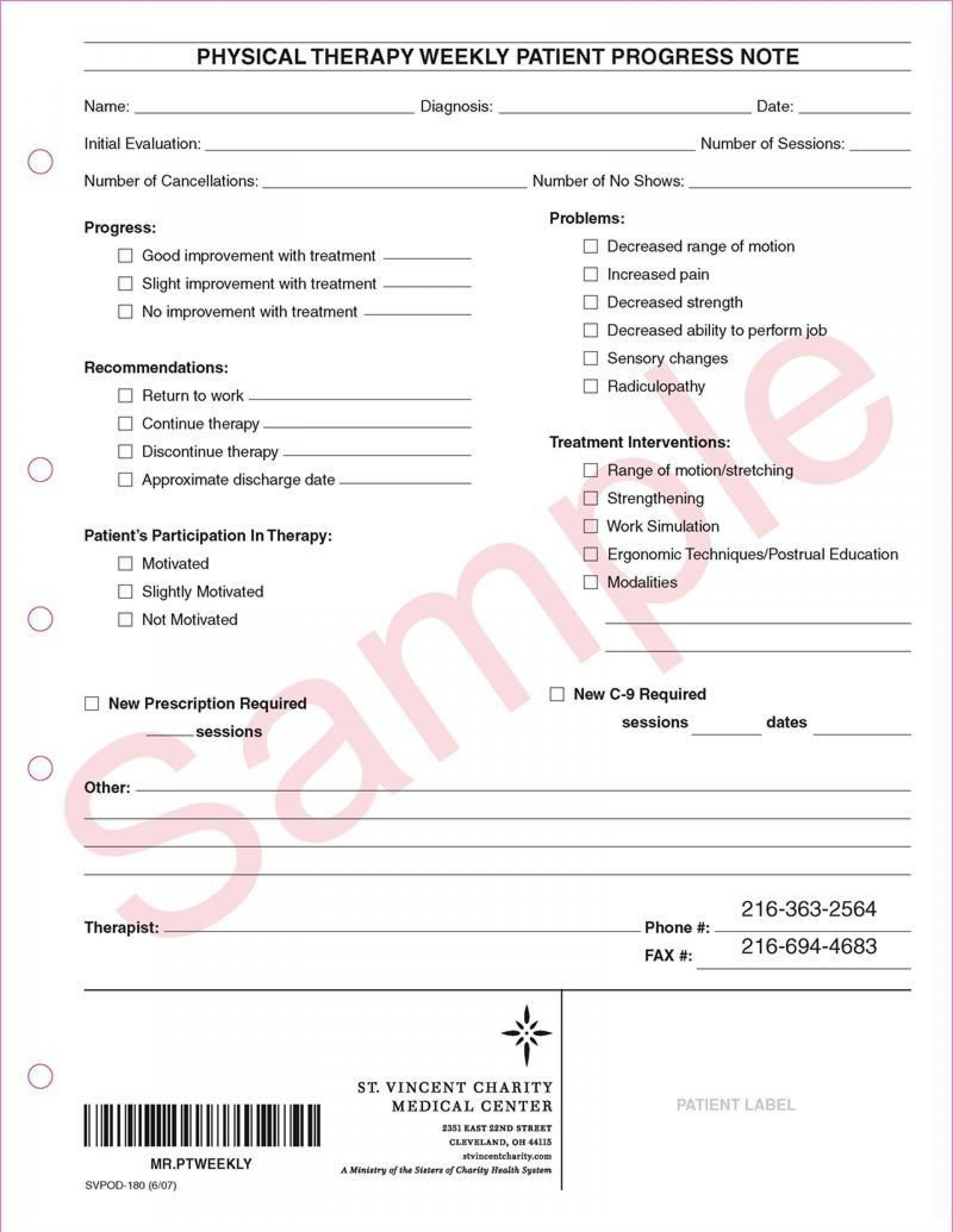 002 Remarkable Physical Therapy Progres Note Template Image  Outpatient Pdf1920