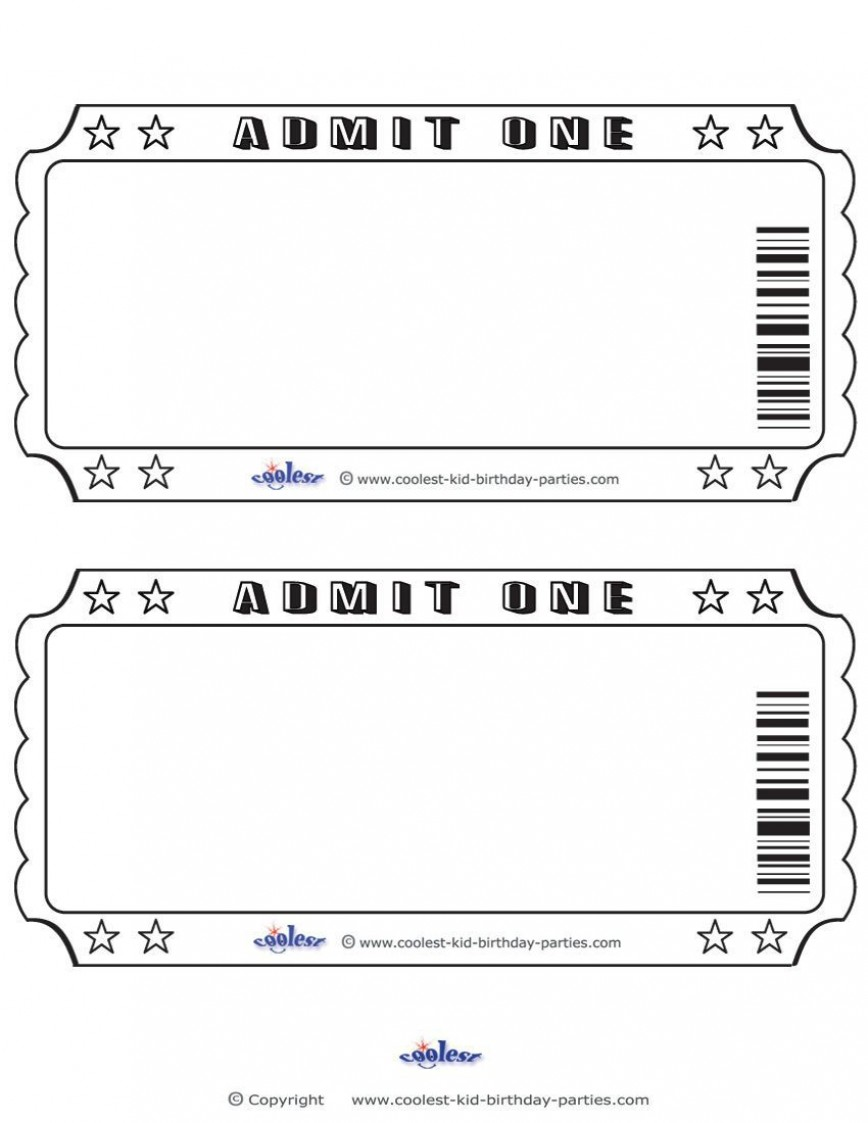 002 Remarkable Print Ticket Free Template Concept  Your Own