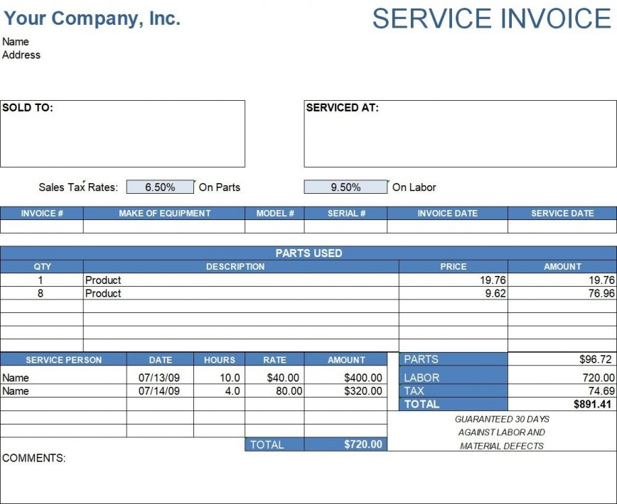 002 Remarkable Service Invoice Template Free Photo  Rendered Word Auto Download868