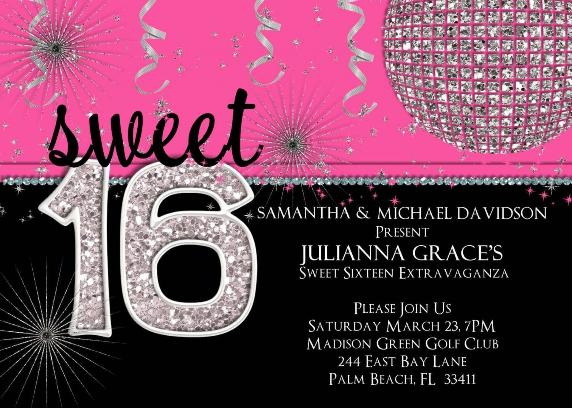 002 Remarkable Sweet Sixteen Invitation Template High Definition  Templates Blue 16 Party Free1920