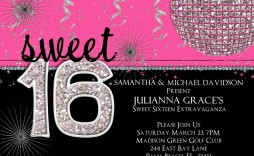 002 Remarkable Sweet Sixteen Invitation Template High Definition  Templates Blue 16 Party Free