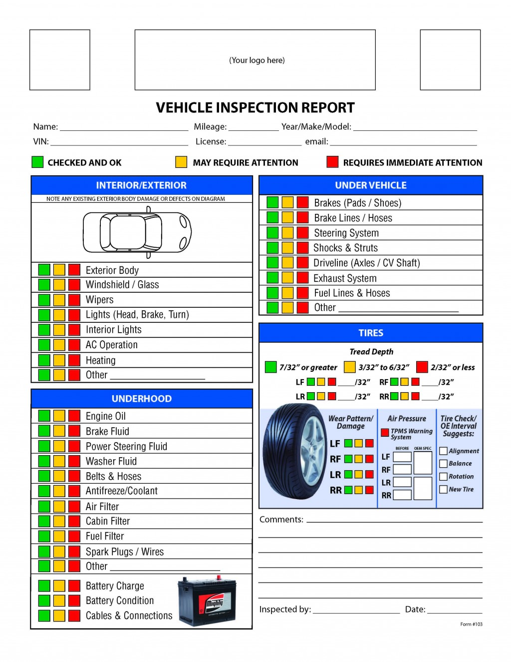 002 Remarkable Vehicle Inspection Checklist Template Photo  Safety Ontario Motor Kenya FormLarge